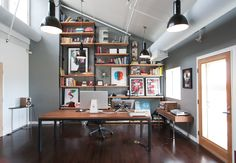 Excellent layout. Lots of indirect, non-glaring light. This office is just set up to breed inspiration.