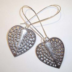 Shoply.com -Antique Silver Filigree Heart Long Drop Earrings. Only C$4.95