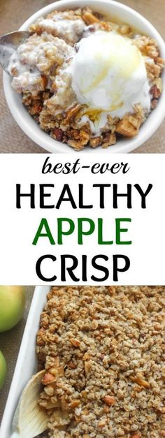 A healthy apple crisp loaded with a cinnamon apples and sweet crumbly topping. Top with vanilla ice cream for pure bliss! The post Best-Ever Healthy Apple Crisp appeared first on Dessert Park. Apple Crisp Recipes, Almond Recipes, Keto Apple Recipes, Free Recipes, Easy Recipes, Trifle, Flan, Healthy Apple Crumble, Breakfast