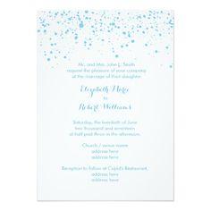 Light Blue Snow on White Winter Wedding 5x7 Paper Invitation Card