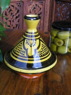 Mini serving tagine in a traditional Moroccan pattern in yellow. http://www.maroque.co.uk/showitem.aspx?id=ENT05557&s=30-30-468