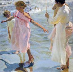 aldanaart: Joaquin Sorolla y Bastida - Bathtime, Valencia, 1908.