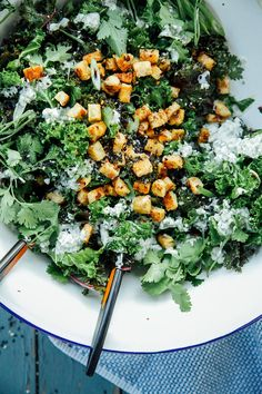 Spring green curry kale + crispy coconut tempeh. Bring on the green!