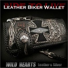 Carved Leather Biker wallet Stingray Skull Cross Ride to Live : WILD HEARTS Leather&Silver http://item.rakuten.co.jp/auc-wildhearts/lw1966/