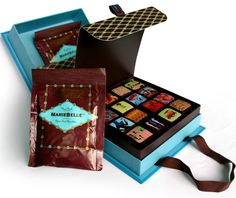 Discover MarieBelle's gourmet chocolates—fine artisan bean to bar chocolates made in Brooklyn with the finest quality cacao beans. Packaging World, Cool Packaging, Packaging Design, I Love Chocolate, Chocolate Boxes, Chocolate Box Packaging, Vanity Box, Moon Cake, Blue Box