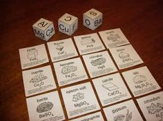 Description of activity: A card/dice game. Players roll three dice marked with element symbols. If they roll the elements required to make one of the minerals, they pick up the card. First player to pick up five cards wins. Chemistry Classroom, Teaching Chemistry, Science Chemistry, Physical Science, Science Resources, Science Lessons, Science Education, Science Activities, Science Experiments