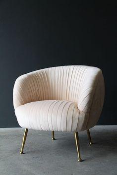 Blush Scalloped Velvet Tub Armchair from Rockett St George