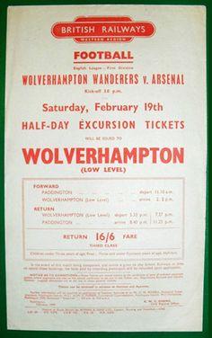 Wolves Arsenal Football special train bill February 1948/9