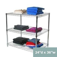 """Industrial Wire Shelving Unit with 3 Shelves - 24""""d"""