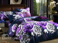 Wholesale Bed In a Bag - Buy Quality Blue Rose Flower Prints Grey Bedding Sets Quilt/duvet Covers Sets for Full/queen Comforter Sets,DHL . Purple Bedding Sets, 3d Bedding Sets, Purple Bedrooms, Queen Comforter Sets, Grey Bedding, Luxury Bedding, Gucci Bedding, Bed Comforter Sets, Rose Comforter