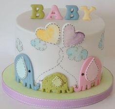 Idéias de lindos bolos para chá de revelação do sexo do bebê 41