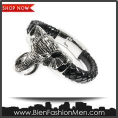 "Mens Bold Bracelets | Mens Bracelets | Mens Bracelet | Mens Jewelry | Mens Accessories | Bracelets on Men | Mens Jewelery | Shop Now ♦ Stainless Steel Big Elephant Leather Bracelet 8"" $30.00"