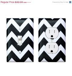4fc28e29313c9 Halloween Sale Chevron Light Switch Plate   Outlet Cover SET   Black and  White   Zig
