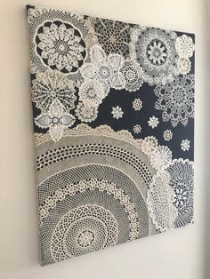 "Doily Art Wall Hanging - ""Snowy Night"" - Vintage Doilies on Burlap - Unique Artw. Doily Art Wall Hanging - ""Snowy Night"" - Vintage Doilies on Burlap - Unique Artwork - Doilies Crafts, Lace Doilies, Crochet Doilies, Framed Doilies, Crochet Crafts, Crochet Ideas, Upcycled Crafts, Diy And Crafts, Homemade Home Decor"