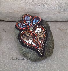 Flower - Copper and Bronze Mirror Heart - Mosaic Paperweight / Garden Stone