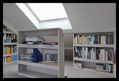 Attic Loft, Loft Room, Attic Rooms, Bedroom Loft, Library Wall, Attic Renovation, Office Setup, Space Furniture, Spare Room