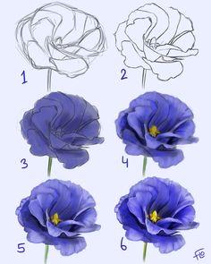 Flower Drawing Tutorials, Flower Art Drawing, Art Tutorials, Painting & Drawing, Drawing Drawing, Lips Painting, Flower Drawings, Drawing Step, Painting Videos