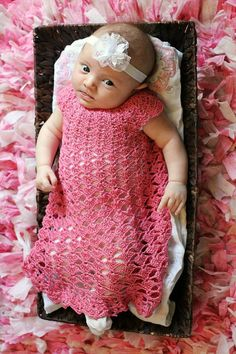Elegant Hope Dress Crochet Pattern Sizes 0-3 Months