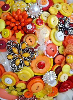 Yellow Orange & Red Mario Button and Broach Bridal Wedding Bouquet DEPOSIT. $99.99, via Etsy.
