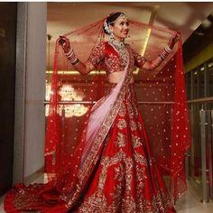 Manish Malhotra Bridal Collection - Classic Red And Soft Pink Lehenga Wedding Lehenga Designs, Wedding Lehnga, Indian Wedding Bride, Designer Bridal Lehenga, Indian Bridal Lehenga, Indian Bridal Outfits, Indian Bridal Wear, Pakistani Wedding Dresses, Wedding Hijab