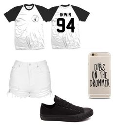 """""""White & Black"""" by ashtonsgirl-5soslover ❤ liked on Polyvore featuring Topshop and Converse"""