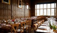 Wedding Breakfast in the Long Gallery at Yarnton Manor. Flowers by Catering by Oxford Event Hire. Photo by Isobel Murphy Photography Unique Wedding Venues, Unique Weddings, Converted Barn, Stone Barns, Private Garden, Countryside, Photo Galleries, Table Settings, Cottage