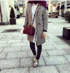 grey-trench-coat-hijab- Ootd hijab styles http://www.justtrendygirls.com/ootd-hijab-styles/