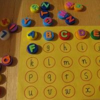Alphabet match - use bottle tops & foam letters to match upper & lower case. you could also do alphabet bingo! Preschool Literacy, Preschool Letters, Learning Letters, Alphabet Activities, Educational Activities, Fun Learning, Preschool Activities, Kindergarten, Infant Activities