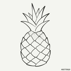 "Download the royalty-free vector ""Outline black and white image of a pineapple…"