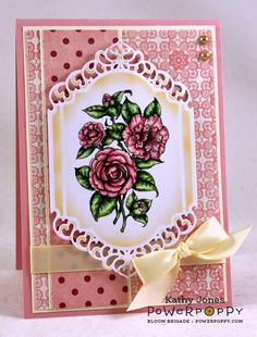 Inspired to Stamp: Camellias stamp set by Power Poppy, card design by Kathy Jones.