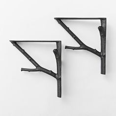 Mix/Match Shelf Branch Bracket, Black, Set of 2