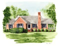 Custom House Painting Personalized Portrait Home Watercolor Custom Illustration Housewarming New Home Realtor Closing Real Estate Gift Real Estate Gifts, House Drawing, House Sketch, Watercolor Portraits, Watercolor Paintings, Landscape Paintings, House Paintings, Custom Homes, Home Art