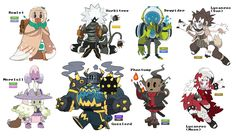 dunesand:  happy new years!  here are all the pokemon gijinka adopts ive drawn so far up until this point. cant wait to do more next year! thanks for all the support!  Im not sure I would define these as gijinka but I like them! Its like a cool reimagining of them as theyd be as characters in some other maybe-quirky RPG!