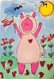ACEO piggy for 4th of July!!!