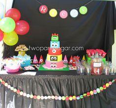 Yo Gabba Gabba dessert table by two parts sugar, via Flickr