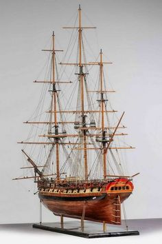 """USS Frigate Essex"" Ship Model, 1799 - stern view"