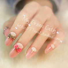 Aliexpress.com : Buy New 2013 Sweetheart pink 3d nails tips,oval acrylic false nail extension,full set full cover fake nail,24 pcs ,free shipping on Jessie's shop. $6.89