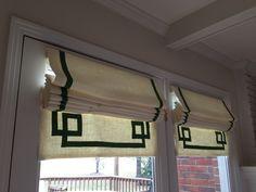Greek Key detail on custom Roman shade. Lovely!