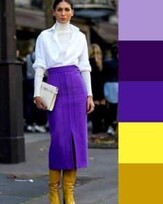 Cold colors and warm accessories. How to combine without making style mistakes . Colour Combinations Fashion, Color Combinations For Clothes, Color Blocking Outfits, Fashion Colours, Colorful Fashion, Color Combos, Colour Blocking Fashion, Mode Bcbg, Chic Outfits
