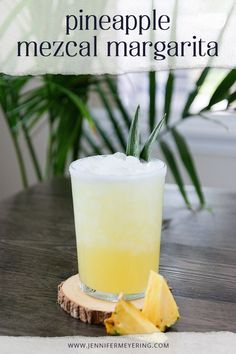 Add a little smokey flavor to your next margarita with some mezcal then shake it together with some fresh pineapple juice for a fun summer twist on a classic. Mezcal Margarita, Mezcal Cocktails, Easy Cocktails, Margarita Bar, Pineapple Cocktail, Pineapple Margarita, Pineapple Juice, Easy Drink Recipes, Best Cocktail Recipes