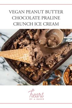 Are you looking for a vegan ice cream recipe? Click through to find out how to make this Vegan Peanut Butter Chocolate Praline Crunch Ice Cream! | Heart of a Baker #veganicecream #icecreamsrecipe Healthy Vegan Dessert, Delicious Vegan Recipes, Healthy Dessert Recipes, Health Desserts, Vegan Snacks, Vegan Desserts, Vegan Food, Vegan Peanut Butter, Chocolate Peanut Butter