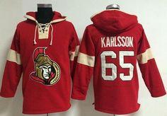 "$34.88 at ""MaryJersey"" (maryjerseyelway@gmail.com) #65 Erik Karlsson - Ottawa Senators Red Hooded Sweatshirt NHL Jersey"