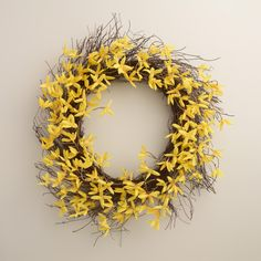 Adorn any door or wall in your home with this springtime wreath of lifelike blooms. >> Spring Home Decor Forsythia Wreath, Spring Home Decor, World Market, Spring Collection, Room Interior, Easter Bunny, Spring Time, Crafts To Make, Holiday Decorating