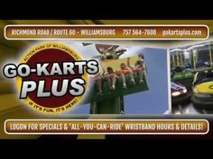 """Where's the best place to go for family fun? Go Karts Plus in Williamsburg Virginia! There's NO Entrance Fee, No Parking Fee! You just buy tickets for the RIDES you want to ride!! With four Go Kart TRacks, Bumper Cars, Blaster Boats, Water Wars, The Disk-O Thrill Ride, a Kiddie Roller Coaster, an air conditioned Arcade & Snack Bar and the ALL NEW Gold Rush Mini Golf! Go Karts Plus! """" If It's Fun It's Here!"""" #gokarts #bumpercars #blasterboats #waterwars #thedisko…"""