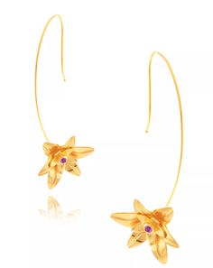 Golden Lily earrings in 18k gold-plated silver with amethyst, price on request; Amrapali