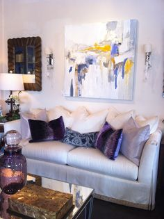 The Mercantile Atlanta, GA abstract art over couch yellow gray purple