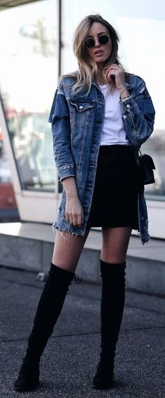 #spring #outfits Denim Jacket & White Tee & Black Skirt