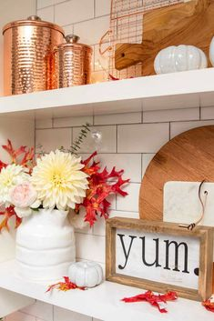 Fall Kitchen Decor. Open shelving styled for the fall. Check out these simple fall decorating ideas for your kitchen.
