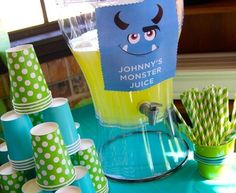 monster university boy's birthday party drink options