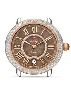 Michele Serein 16 Two-Tone Diamond Cocoa Dial Watch Head, 34 x 36mm
